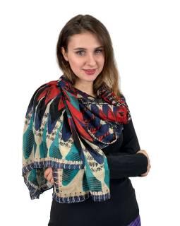 Šátek z viskózy, béžovo-červeno-modrý, velká Mandala, 110x174 cm