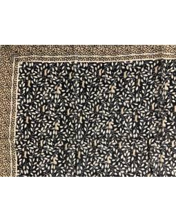 Šátek z viskózy, tmavě modrý, béžovo-hnědý potisk lístků a koček, 110x180cm