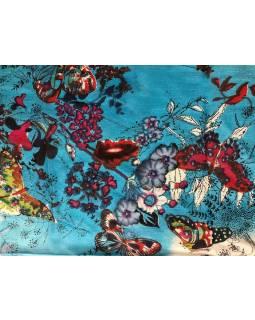 Šátek z viskózy, tyrkysový s barevným potiskem květin a motýlů, 115x180cm