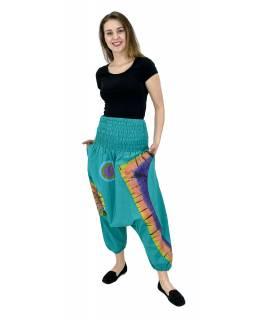 Turecké kalhoty, dvě kapsy, pružný pas, žabičkování v pase