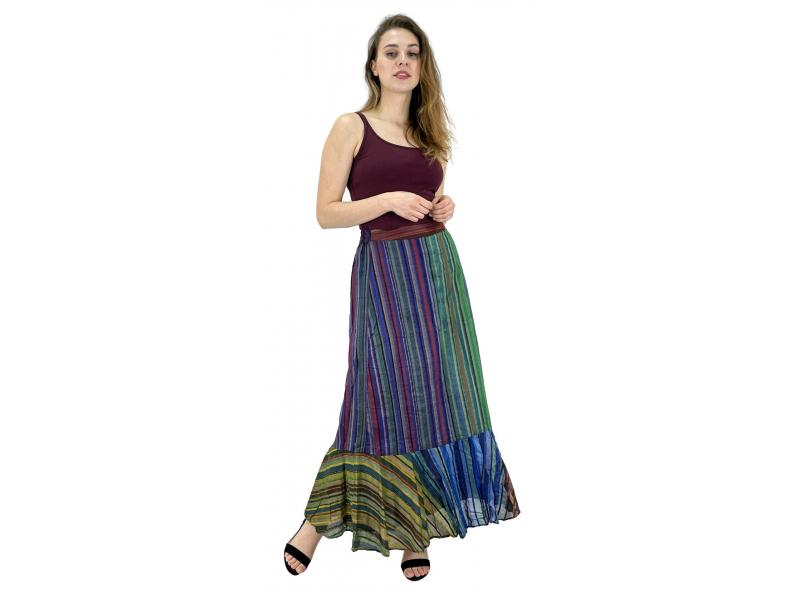 Dlouhá barevná sukně, široký volán, proužky, guma na zádech, délka cca 97cm