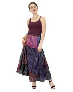 Dlouhá barevná sukně, široký volán, proužky, guma na zádech, délka cca 94cm
