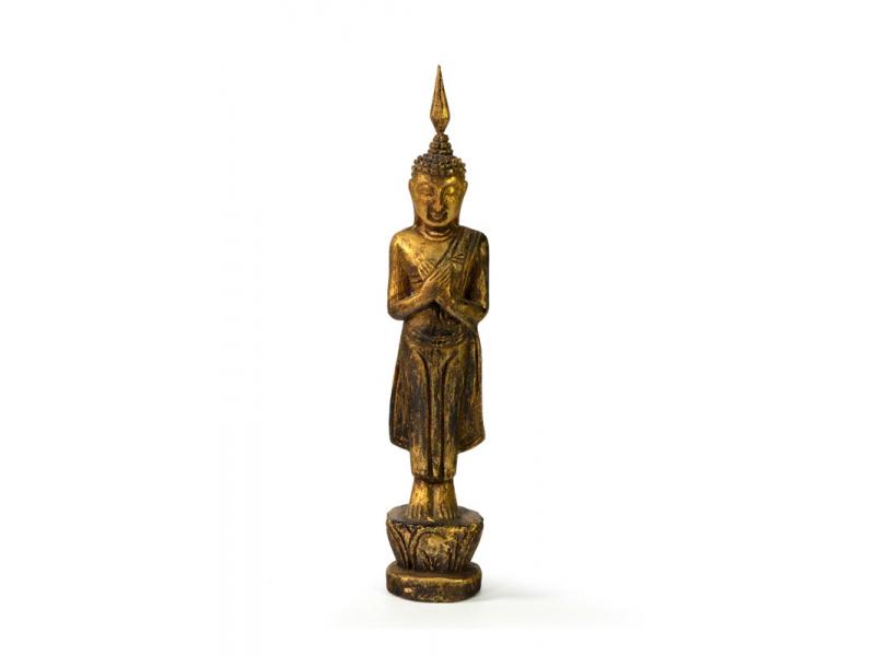 Narozeninový Buddha, pátek, teak, zlatá patina, 23cm
