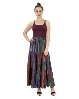 Dlouhá barevná sukně, široký volán, proužky, guma v pase, délka cca 94cm