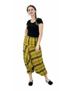 Turecké kalhoty, žluté s pruhy, pružný pas