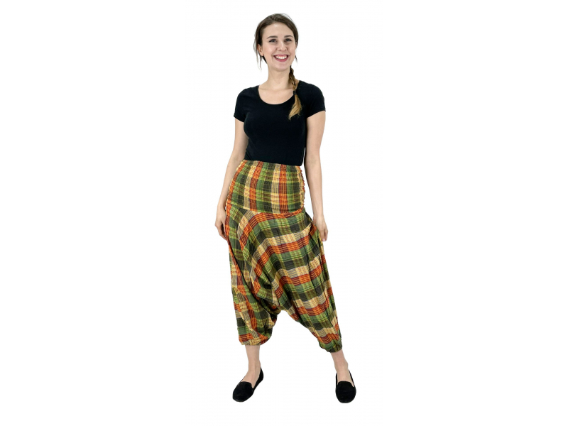 Turecké kalhoty, zeleno-žluté, pružný pas