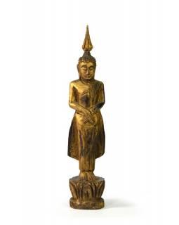 Narozeninový Buddha, neděla, teak, zlatá patina, 23cm