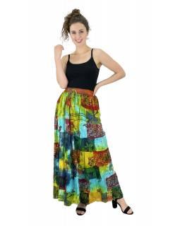 Dlouhá patchworková sukně,  multibarevná, pružný pas na gumu