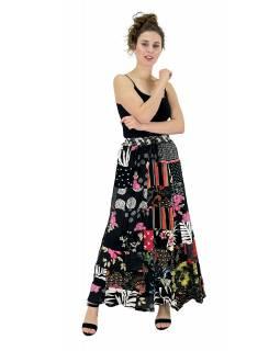 Dlouhá patchworková sukně, černá, barevný potisk, guma v pase, délka cca 103cm