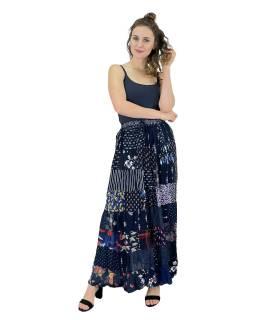 Dlouhá patchworková sukně, modrá, barevný potisk, guma v pase, délka cca 106cm