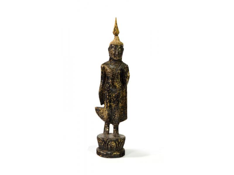 Narozeninový Buddha, pondělí, teak, černo-zlatá patina, 23cm