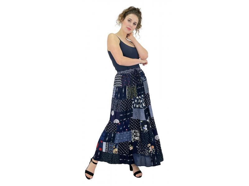 Dlouhá patchworková sukně, modrá, barevný potisk, guma v pase, délka cca 100cm