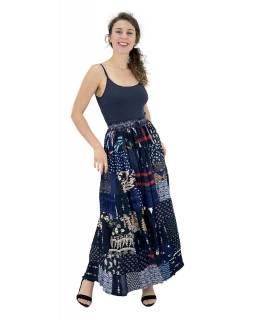 Dlouhá patchworková sukně, modrá, barevný potisk, guma v pase, délka cca 103cm