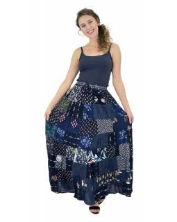 Dlouhá patchworková sukně, modrá, barevný potisk, guma v pase, délka cca 102cm