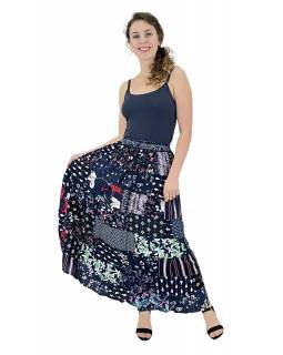 Dlouhá patchworková sukně, modrá, barevný potisk, guma v pase, délka cca 99cm