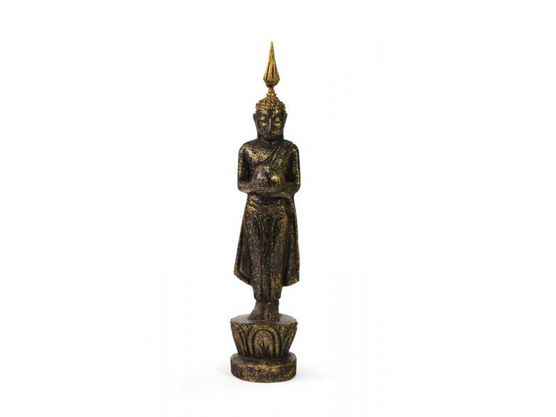 Narozeninový Buddha, středa, teak, černo-zlatá patina, 23cm