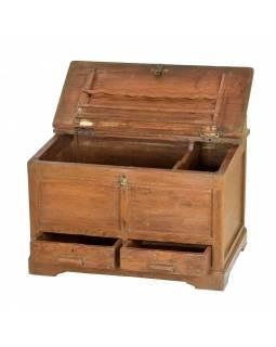 Starý kupecký stolek z teakového dřeva, 67x45x48cm