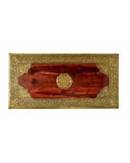 Opiový stolek z palisandrového dřeva zdobený kováním, 80x40x42cm
