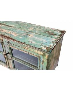 Prosklená skříňka z teakového dřeva, 122x57x67cm