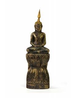 Narozeninový Buddha, čtvrtek, teak, černo-zlatá patina, 23cm