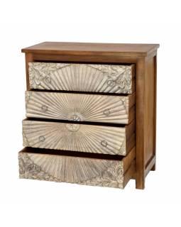 Komoda z mangového dřeva, ručně vyřezávané šuplíky, 83x43x90cm