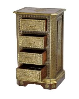 Šuplíková komoda z palisandrového dřeva zdobená mosazí, 55x40x90cm