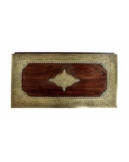 Truhla z palisandru, ozdobné mosazné kování, 3 šuplíky, 90x45x50cm