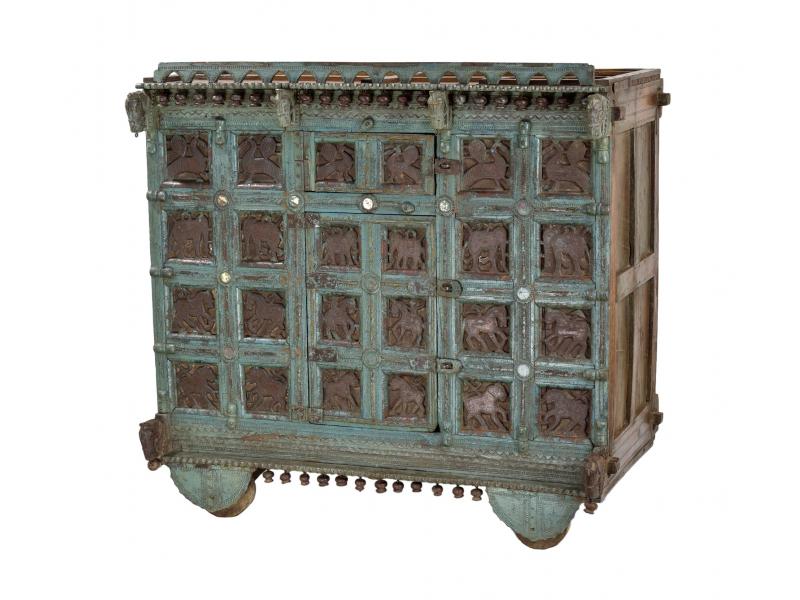 Truhla z teakového dřeva na kolečkách, ruční řezby, antik kus, 125x69x124cm