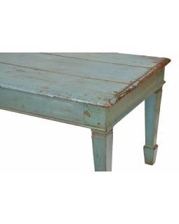 Konferenční stolek z teakového dřeva, tyrkysová patina, 185x68x61cm