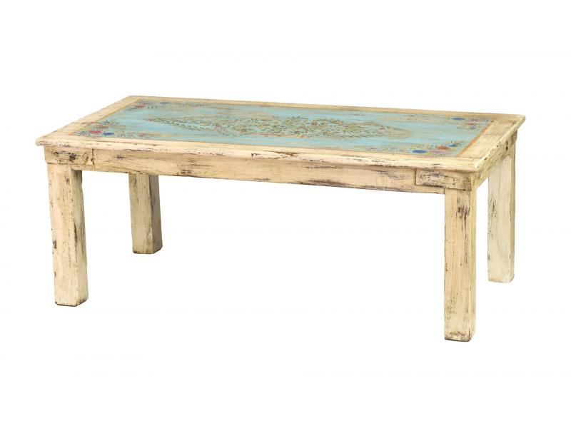 Konferenční stolek z teakového dřeva, ručně malovaný, 130x65x51cm