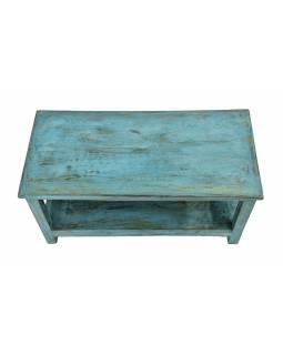 Konferenční stolek z teakového dřeva, tyrkysová patina, 93x44x47cm