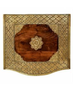Komoda z palisandrového dřeva s mosazným kováním a šuplíky, 45x40x110cm