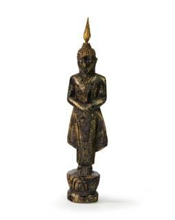 Narozeninový Buddha, neděle, teak, černo-zlatá patina, 23cm