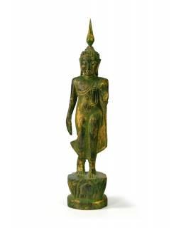 Narozeninový Buddha, pondělí, teak, zelená patina, 23cm