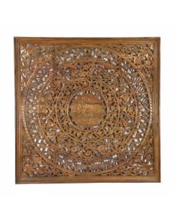 Dřevěná mandala z mangového dřeva, ručně vyřezávaná,, 200x10x200cm