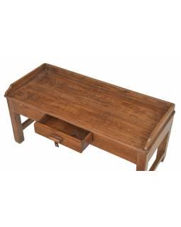 Starý kupecký stolek z teakového dřeva, 90x38x42cm