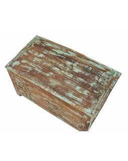 Starý kupecký stolek z teakového dřeva, 70x39x44cm