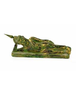 Narozeninový Buddha, úterý, teak, zelená patina, 23cm