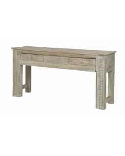 Konzolový stolek z mangového dřeva, bílá patina, 153x40x77cm