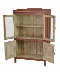 Prosklená skříňka z teakového dřeva, 84x43x136cm