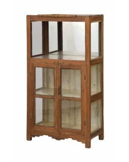Prosklená skříňka z teakového dřeva, se zrcadlem, 67x38x130cm