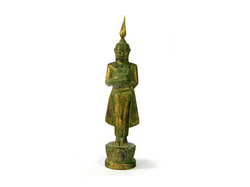Narozeninový Buddha, středa, teak, zelená patina, 23cm