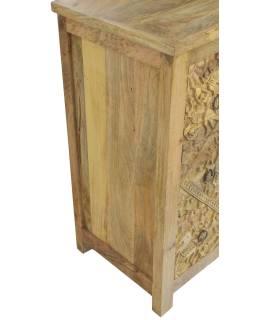 Komoda z mangového dřeva, ručně vyřezávané šuplíky, přírodní barva, 83x43x90cm