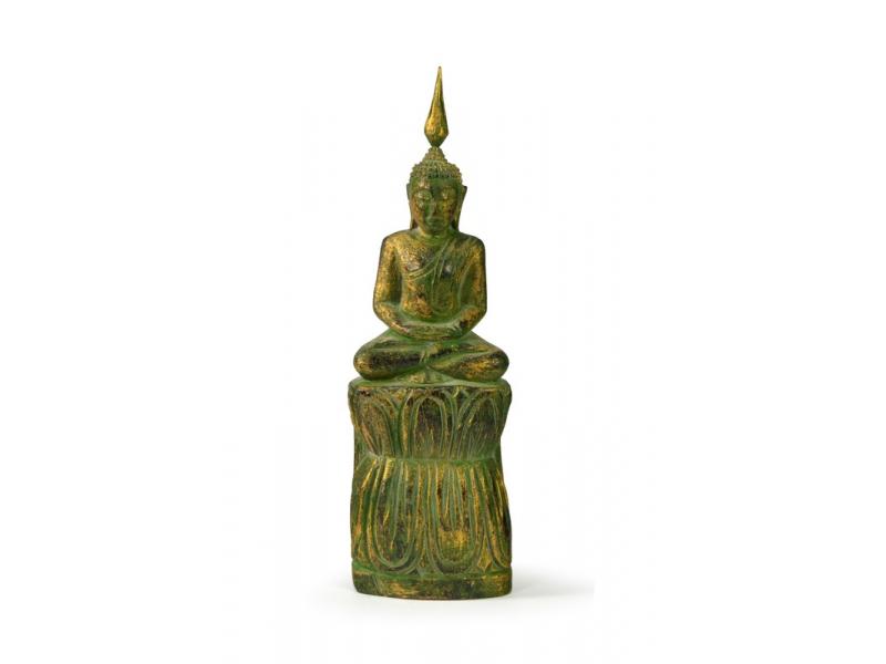 Narozeninový Buddha, čtvrtek, teak, zelená patina, 23cm