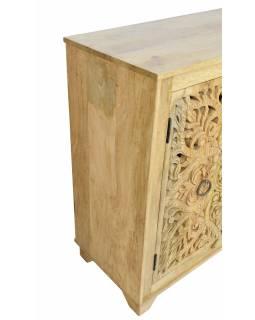 Komoda z mangového dřeva, ručně vyřezávaná dvířka, přírodní úprava, 175x43x98cm