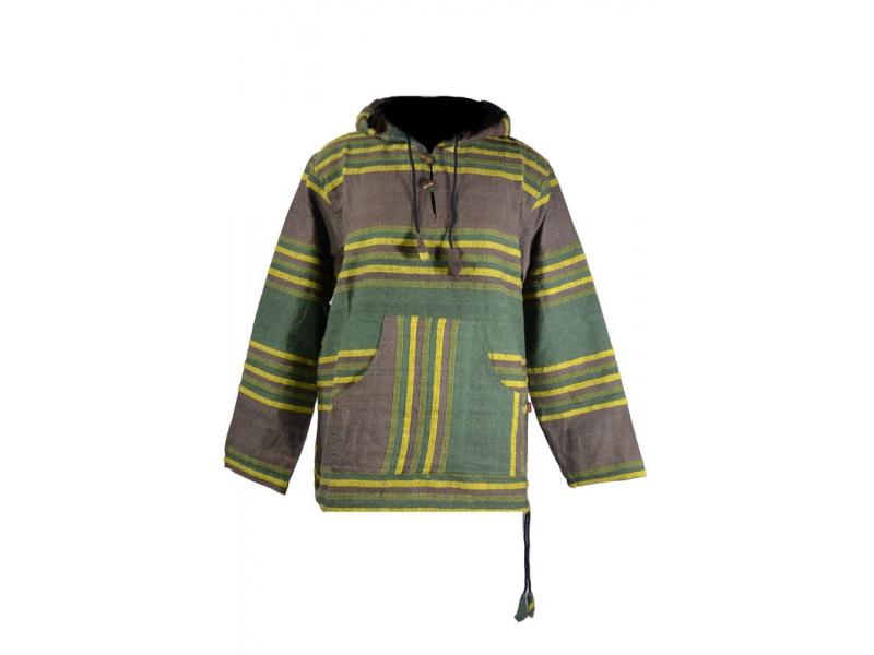 Pánská zeleno-khaki-žlutá pruhovaná bunda s kapucí, kapsa klokanka