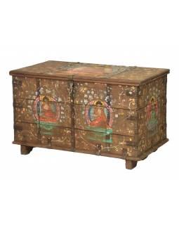 Stará truhla z teakového dřeva, ručně malovaná, zdobená kováním, 118x62x72cm