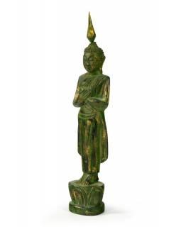 Narozeninový Buddha, pátek, teak, zelená patina, 23cm
