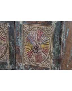 Antik dveře s rámem z Gujaratu, teakové dřevo, 155x17x221cm