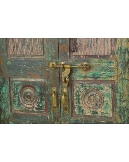 Antik dveře s rámem z Gujaratu, teakové dřevo, 148x30x213cm